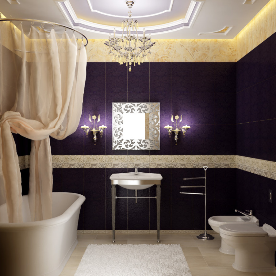 Bathroom Hanging Lighting and Violet Room Ideas