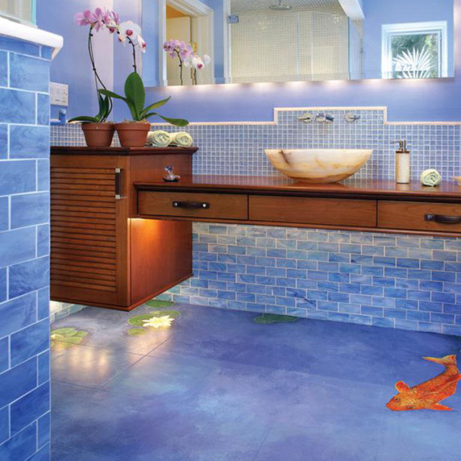 Bathroom Blue LED Lighting Ideas