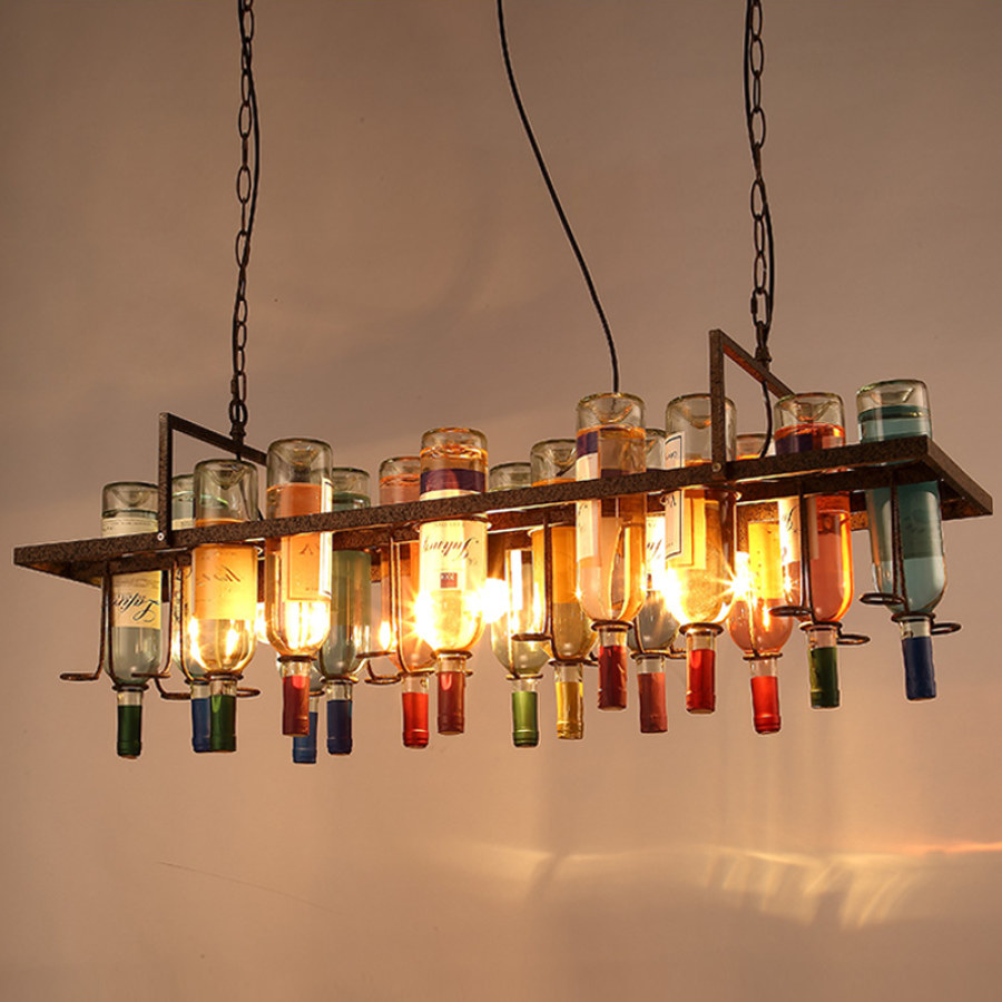 Industrial Hanging Colorful Bottle Lighting Ideas